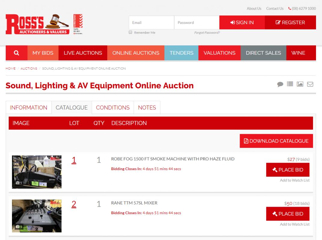 Online auction TLS PRODUCTIONS